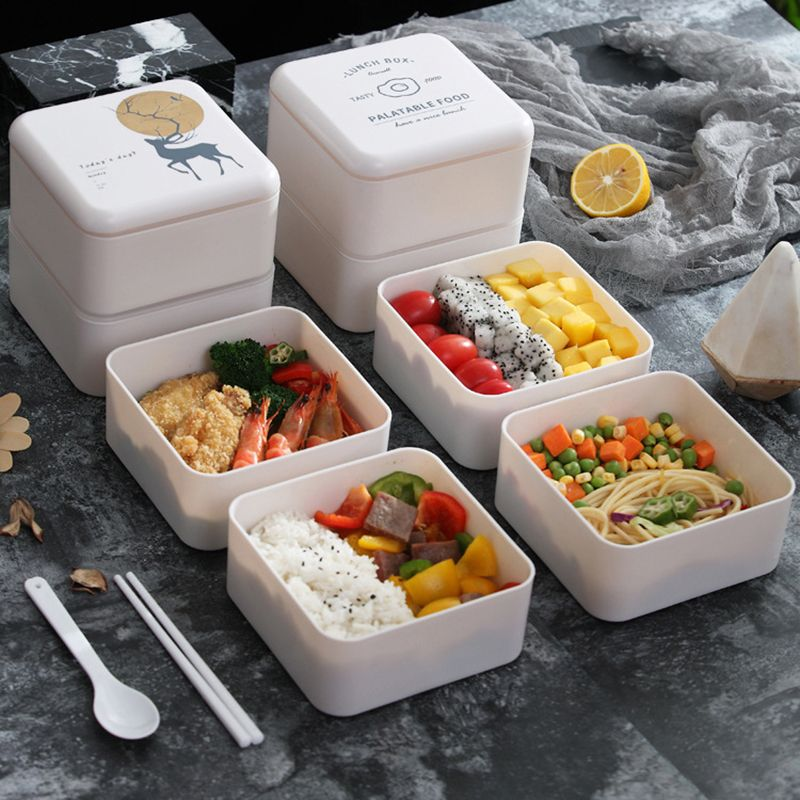 Square double-layer microwaveable lunch box with spoon and chopsticks NHNU275836