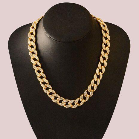 hip hop snake bone gold and silver new geometric alloy diamond necklace bracelet NHWF275207's discount tags