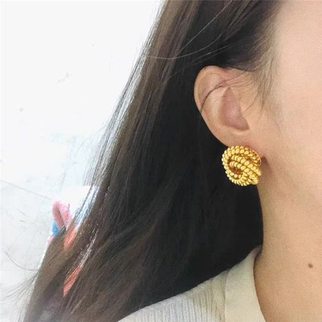 Korean golden  round bead stud earrings NHYQ275210's discount tags