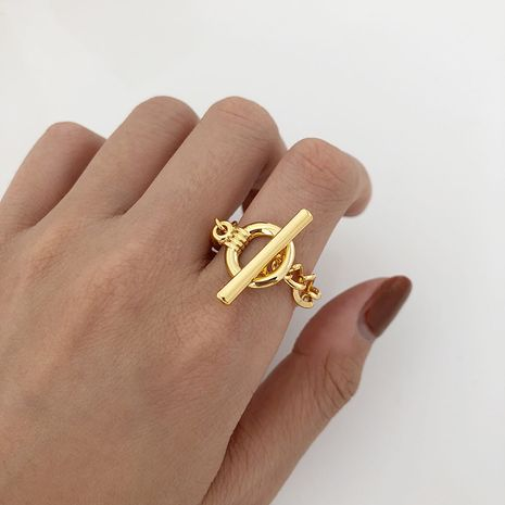 simple golden buckle ring NHYQ275216's discount tags