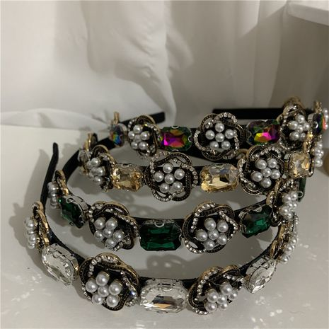 French retro light luxury baroque crystal pearl headband NHYQ275219's discount tags