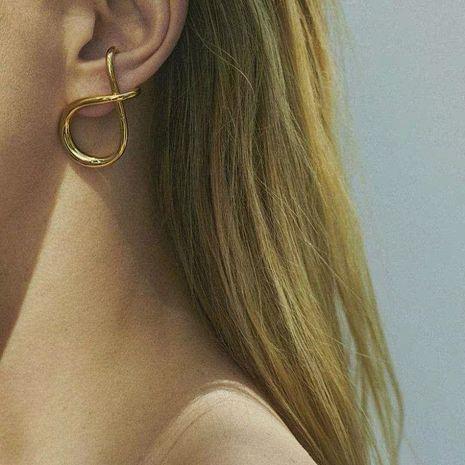 nudo moda simple viento frío pendientes de cobre irregulares NHYQ275222's discount tags