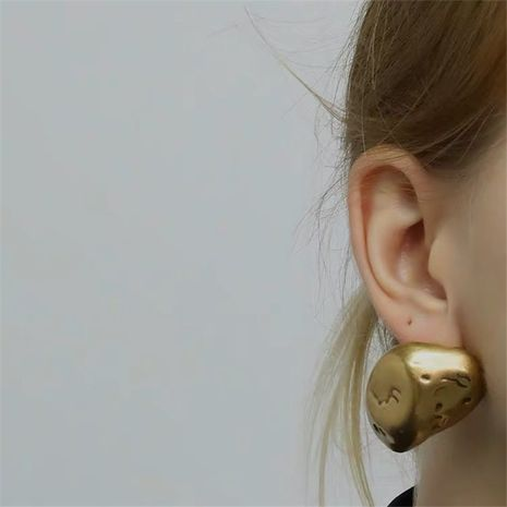 brass stone shape old holes exaggerated earrings NHYQ275230's discount tags