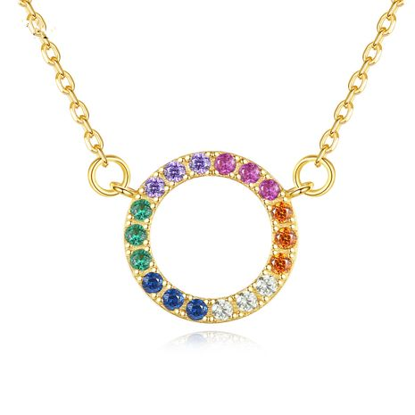 925 sterling silver geometric rainbow color pendant necklace NHLE275307's discount tags