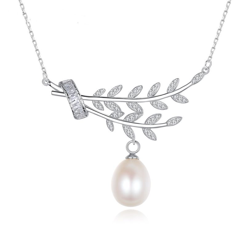 925 sterling silver freshwater pearl pendant leaf necklace  NHLE275314