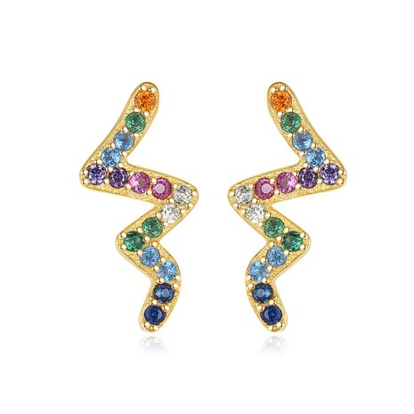 S925 sterling silver creative micro-inlaid zircon earrings  NHLE275328's discount tags