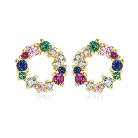 S925 sterling silver korean simple micro-inlaid color earrings  NHLE275334's discount tags