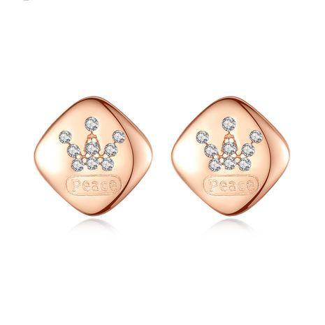 Corona de plata de ley 925 pendientes de oro rosa con micro incrustaciones simples coreanos NHLE275335's discount tags