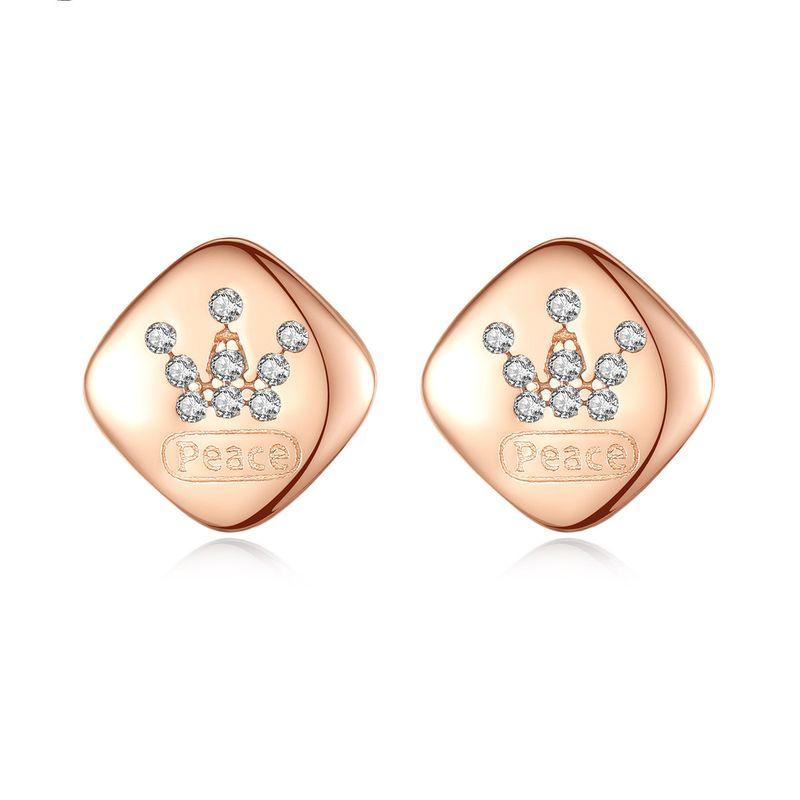 925 sterling silver crown korean simple microinlaid zircon rose gold earrings  NHLE275335