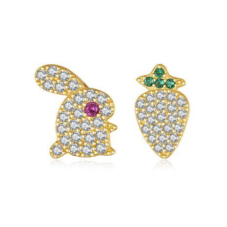 hot selling 925 sterling silver  simple asymmetrical rabbit radish zircon earrings NHLE275338's discount tags