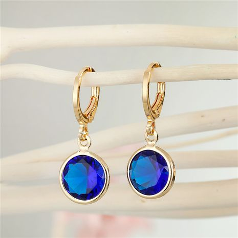 simple candy color round crystal zircon earrings  NHGO275782's discount tags