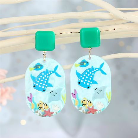 nuevos pendientes acrílicos pintados a mano NHGO275783's discount tags