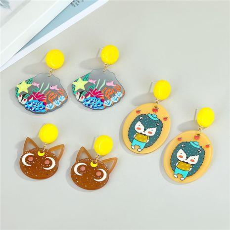 nouvelles boucles d'oreilles créatives en acrylique peintes à la main NHGO275784's discount tags
