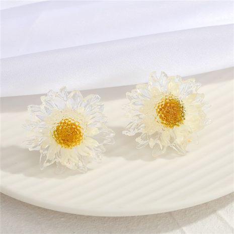 new  925 silver needle transparent gold foil daisy  earrings  NHGO275793's discount tags