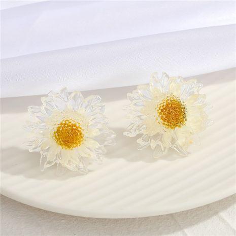 Nuevos pendientes de margaritas de hoja de oro transparente con aguja de plata 925 NHGO275793's discount tags