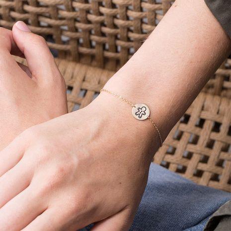 nouveau bracelet de lettrage plaqué or en acier inoxydable en acier au titane NHTF275251's discount tags
