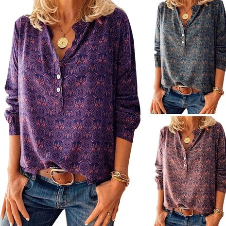 retro print V-neck long-sleeved loose blouse NHUO278273's discount tags