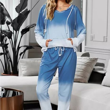 Long-sleeved women's loose gradient color trousers two-piece pajamas NHEK278275's discount tags