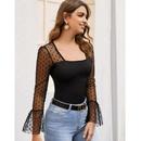 Lace bag shoulder longsleeved top Tshirt lace shirt NHJG264704
