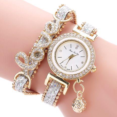 Reloj de pulsera de círculo de amor con letra de diamantes de imitación de moda NHSS275846's discount tags