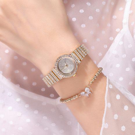 Reloj de banda de acero de cuarzo con diamantes de imitación NHSS275849's discount tags