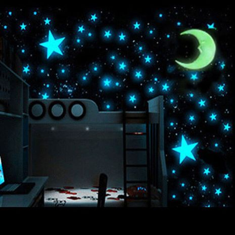 Luminous dark blue stars moon set wall stickers NHAF275861's discount tags