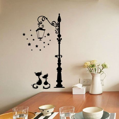 black cats under street lights removable PVC wall stickers  NHAF275862's discount tags