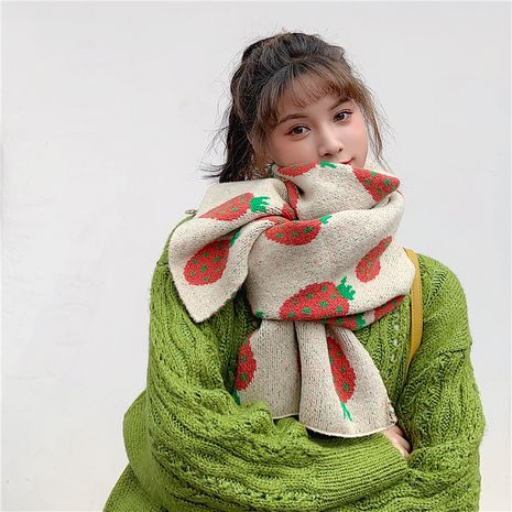 Cute Korean knitted wool thickened long scarf NHCM275873's discount tags