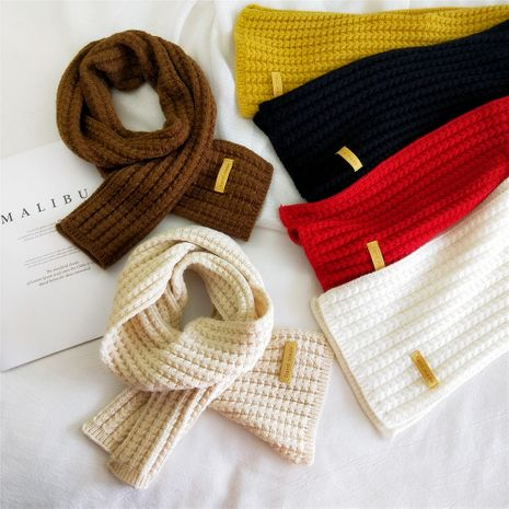 Pure color knit scarf NHMN275890's discount tags