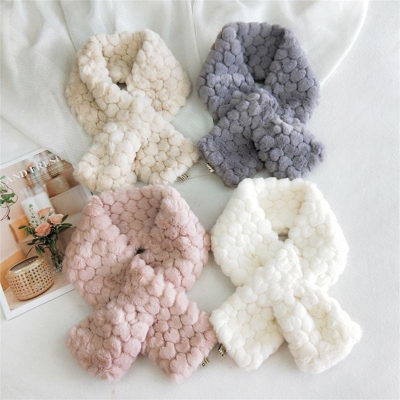 soft faux fur solid color scarf NHMN275908