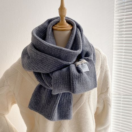 Autumn and winter labeling yellow knitted scarf  NHCJ275913's discount tags