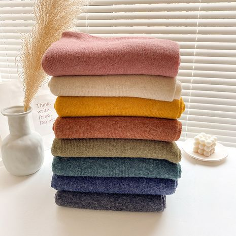 Korean pure color knitted wool scarf NHCJ275914's discount tags