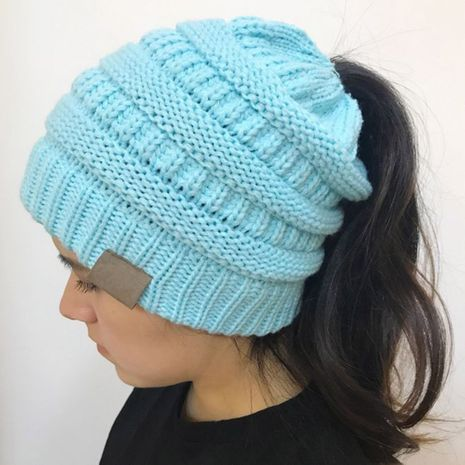 knit pure color woolen hat NHTQ275940's discount tags