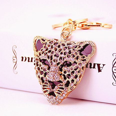 Porte-clés en métal tête de léopard en strass exquis de mode coréenne NHAK276004's discount tags
