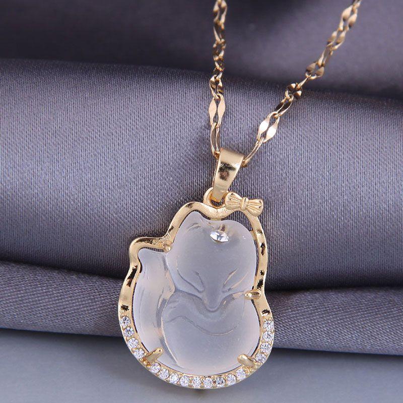 Korean style fashion jade necklace  NHSC277786
