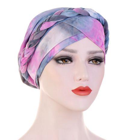 chapeau tressé en tissu de soie de lait poncé tie-dye NHHV276064's discount tags