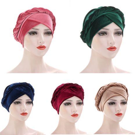 chapeau turban monochrome en velours coréen multicolore NHHV276067's discount tags