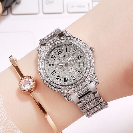 gypsophila inlaid diamond Roman scale quartz alloy watch  NHSR276098's discount tags