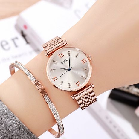 Simple diamond steel belt fashion waterproof watch NHSR276107's discount tags