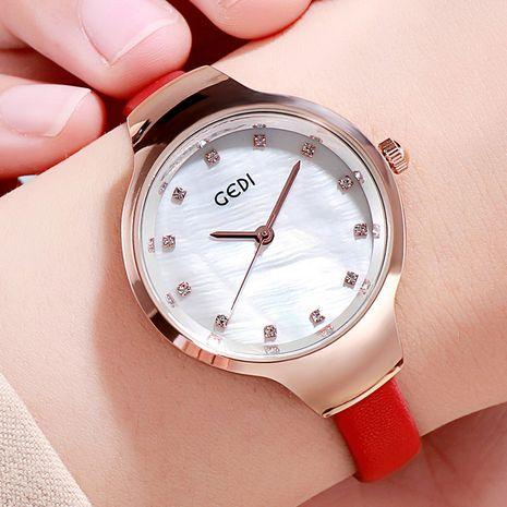 Reloj de correa fina de cuero PU NHSR276118's discount tags