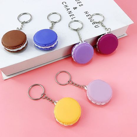 New PVC soft rubber material Macaron cream sandwich biscuits key chain  NHAP276163's discount tags