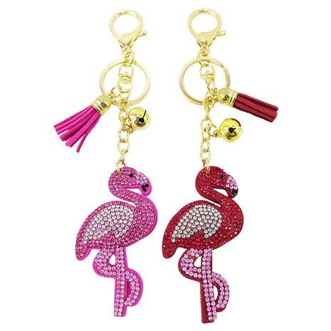 Porte-clés pompon flamant rose en velours coréen serti de diamants NHAP276172's discount tags