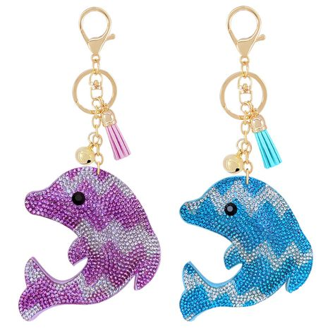 Creative Velvet Color Rhinestone Cute Dolphin Keychain NHAP276180's discount tags
