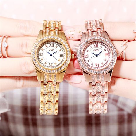 steel band diamond quartz watch NHSR276198's discount tags