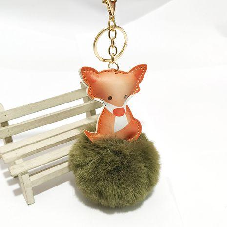 PU cartoon fox fur ball keychain NHDI275812's discount tags