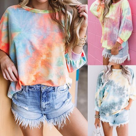 round neck sweater gradient color long-sleeved tie-dye loose sexy top NHIS278283's discount tags