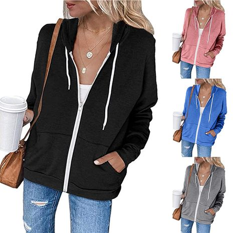 Women's solid color long-sleeved pocket  sweater NHUO278286's discount tags