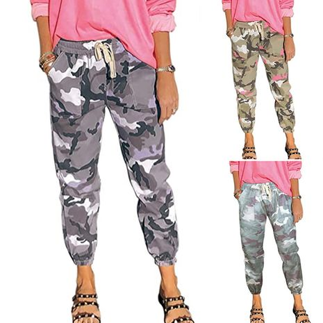 women's cotton overalls mid-waist casual camouflage pants NHIS278287's discount tags