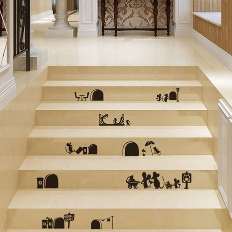 Cartoon wall stickers room decoration background staircase stickers NHAF276250's discount tags