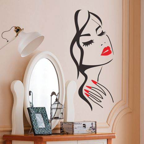 beauty head carved living room background wall sticker painting NHAF276251's discount tags